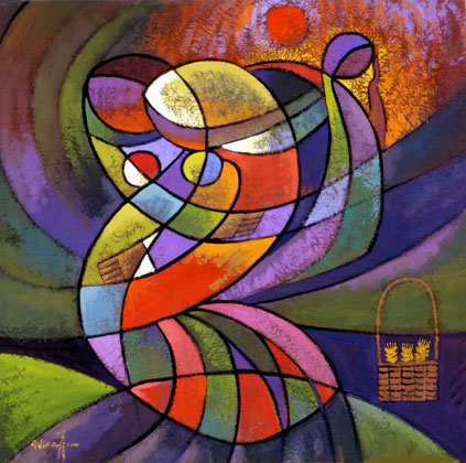 Ruth and Naomi in Bible Paintings: Ruth and Naomi, He Qi, 2001
