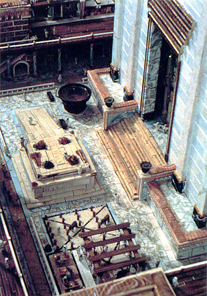 A reconstruction of the Court of Israel in the Temple of Jerusalem; this was a central area where priests offered sacrifice to Yahweh