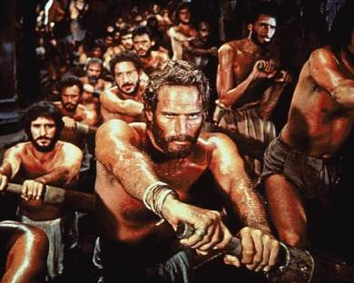 Slavery: still from the movie 'Ben Hur', showing the hero as a galley slave
