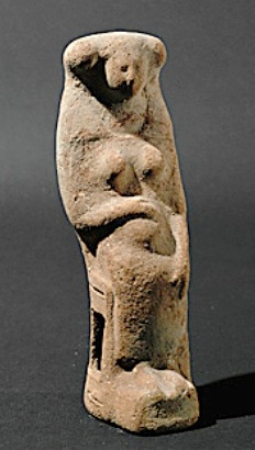 Childbirth in ancient times: Figurine of a Phoenician goddess with pregnant stomach and birthing stool, circa 8th-6th century BC