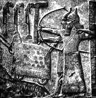 Assyrian archers, battering ram, impaled prisoners: ancient wall carving