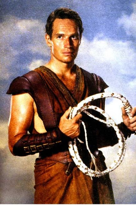 Ben Hur (Charlton Heston) as a charioteer in the film 'Ben Hur'
