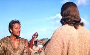 Bible movies, films. Ben Hur meets Jesus in the film 'Ben Hur'