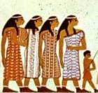 An Egyptian wall painting of 'Abiru' women who travelled south into Egypt