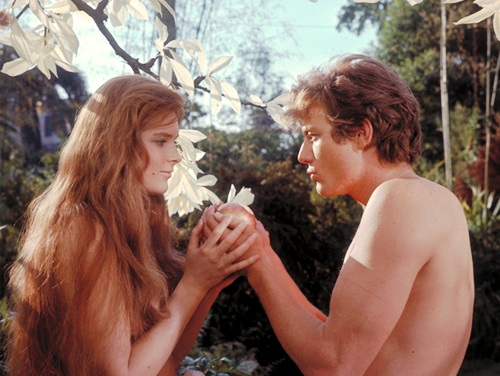 Bible movies, films. Adam and Eve meet each other for the first time in 'The Bible'