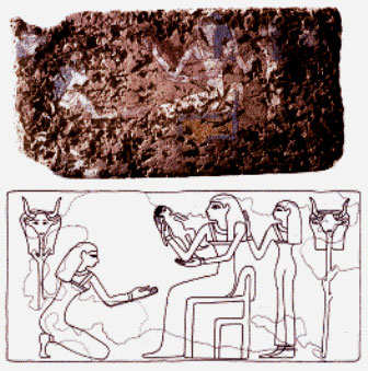 Childbirth in ancient times: An Egyptian birthing brick; the original painted image shows the goddess Hathor presenting a child to its mother