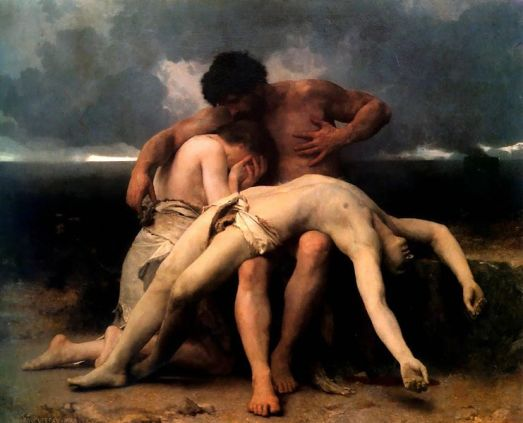 Paintings of Cain & Abel. The First Mourning, Bouguereau, 1888; painting shows Adam and Eve mourning the death of their young son