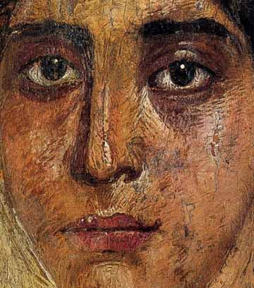 One of the Fayum coffin portraits from Egypt, detail