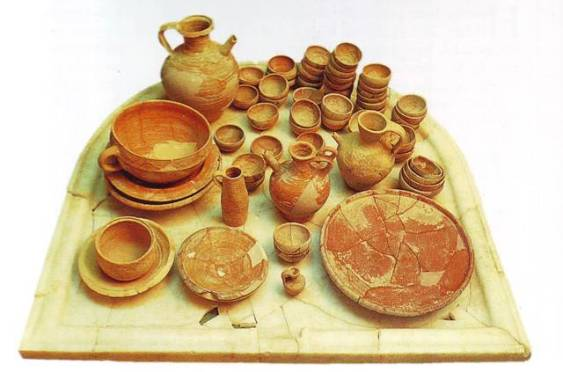 Clean, unclean food. Ancient set of pottery excavated in Israel