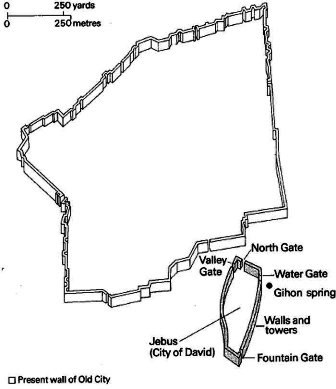 Jerusalem at the time of David. The original fortress of Jebus is the small enclosure in the bottom right; the large enclosed area is the town on the large slab of rock to the north of the fortress