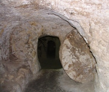 An underground tomb hollowed out of the rock in Nazareth
