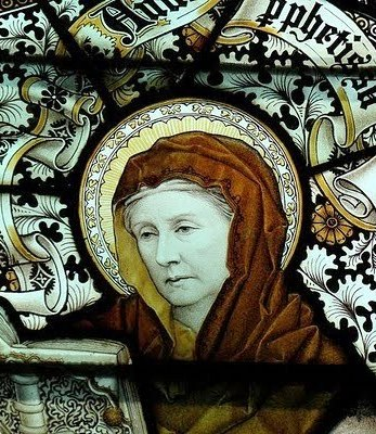 Stained glass window of Anna, prophetess
