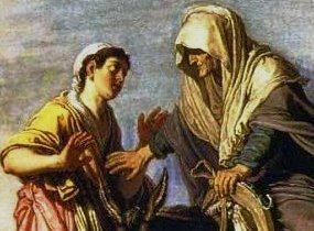 Ruth and Naomi in Bible Paintings: Detail of Ruth and Naomi, Pieter Lastman