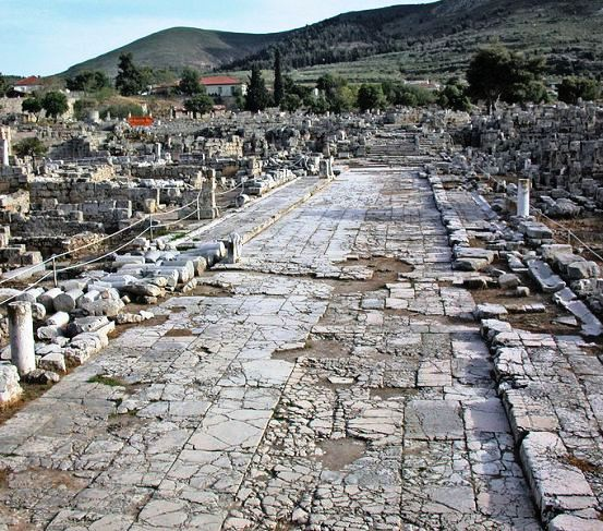 A main thoroughfare in the ancient city of Corinth; Prisca, Aquila and Paul almost certainly walked along this street