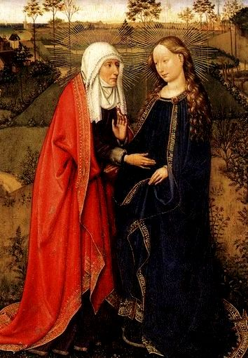 Jacques Daret's magnificent painting of the meeting of Elizabeth and Mary