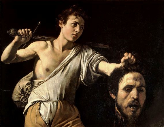 Bad Bible men: David and Goliath, by Caravaggio; notice the bruise on Goliath's forehead where the stone from the sling has struck