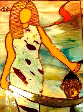 Judith with the head of Holofernes, stained glass installation, Diana Goodpasture