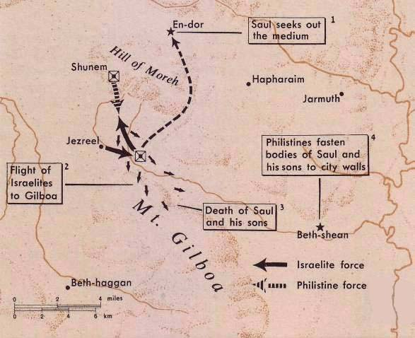 Map of the region where King Saul fought his last battle