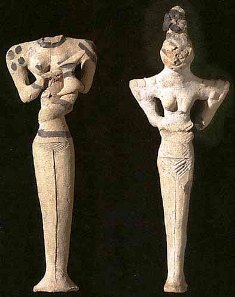 Ancient clay figurines from Ur, the original home of Sarah and Abraham; these date from 5,000-4,000BC