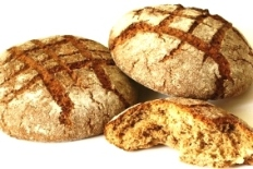 Fresh-baked loaves of bread