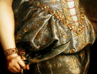 Judith and Holofernes, detail of hand with knife, Galizia, 1596