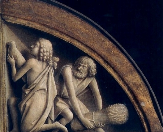 Cain, Abel Paintings. The Ghent altarpiece has Cain holding a sheaf of wheat as if it is a weapon. His face is twisted in hate, but his brother Abel seems oblivious of the danger behind him.