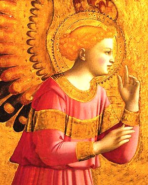 A medieval artist's concept of an 'angel', the messenger of God