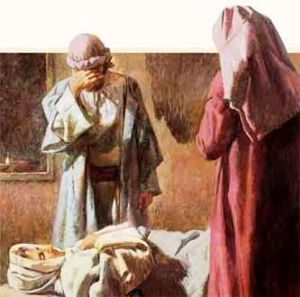 The disciples grieve over the dead body of Dorcas-Tabitha