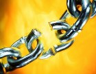 Silver chain with broken link
