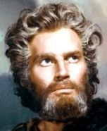 Charlton Heston as Moses in the desert in the movie 'Ten Commandments'