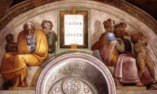 Michelangelo's painting of Jacob with two of his wives, Rachel (left with Jacob's son Joseph) and Leah, Rachel's older sister