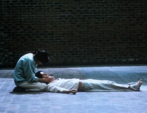 Bible movies, films. The dead Jesus and Mary Magdalene in a subway station