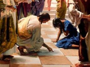 Jesus and the woman taken in adultery: Jesus writes on the paving of the Temple while the woman hides her face