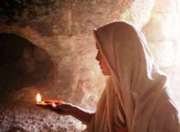 Mary Magdalene at the empty tomb on Easter morning