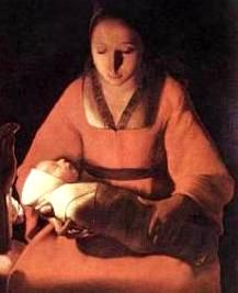 Painting of the Nativity, by George de la Tour