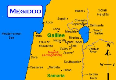 Map showing location of Megiddo, where Josiah was killed fighting the Egyptians