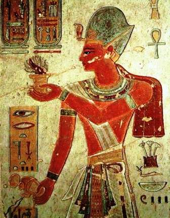 Wall painting of an Egyptian pharaoh