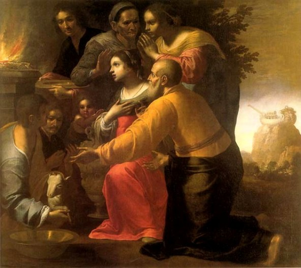 God's Covenant. Noah sacrifices to God after the Flood, Antonio Carracci