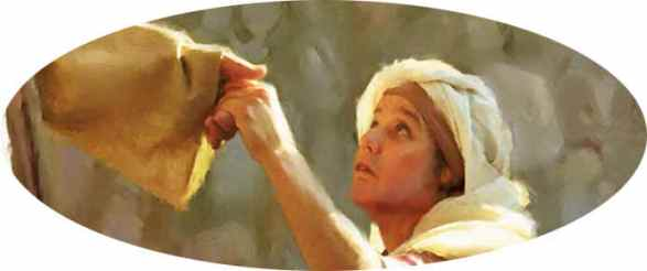 Jesus and the Crippled Woman: a woman reaches up to take the hand of Jesus