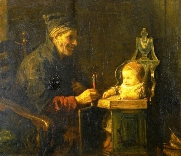 Old man playing with young child