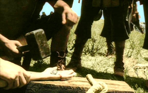 Bible movies, films. Image of crucifixion from Pasolini's 'Passion of the Christ'