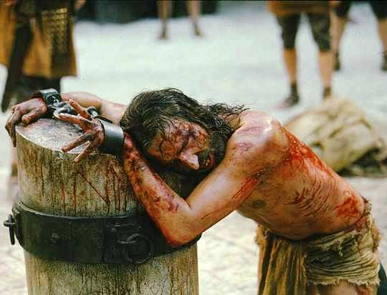 Bible movies, films. Jesus is scourged by the Roman soldiers in 'The Passion of the Christ'