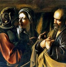 Peter denies Jesus, painting by Caravaggio, detail