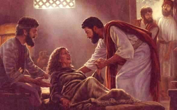 Jesus cures the mother-in-law of Peter of her illness