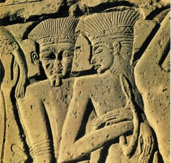 Philistine warriors captured by the Egyptians, from the wall relief at Medinet Habu