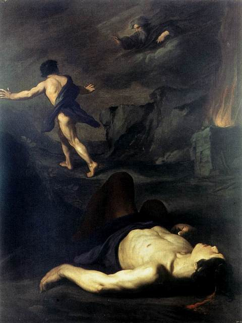 Paintings of Cain & Abel. Contrast the skin tones of the two male bodies: Cain, fleeing, has living flesh, but Abel already has a luminous pale quality as he lapses into Death. This luminosity dominates the canvas. He seems to have been killed by a sharp blow to the head; his beautiful body is unmarred. God appears above the sacrificial altar, speaking his judgement against the first murder and the first fratricide.