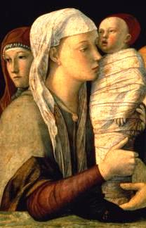 Childbirth in ancient times: Bellini's painting of the Presentation of Jesus in the Temple shows the baby Jesus wrapped in swaddling clothes