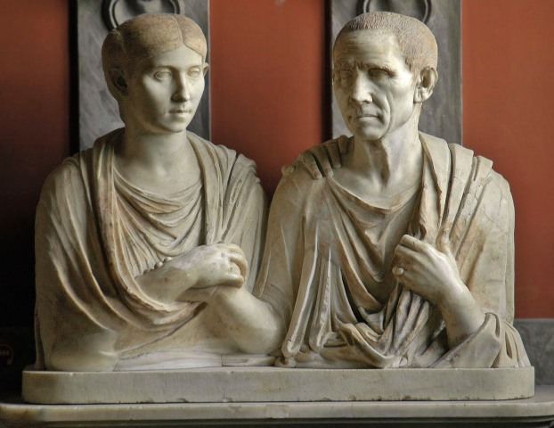 These 1st century Roman statues are of Gratidia and Gratidius Libanus, not of Prisca and Aquila, but they are a beautiful image of loving mutual support between husband and wife. The woman in particular radiates strength and calm.