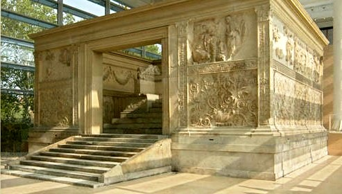 The Ara Pacis, an altar to Peace built by the Emperor Augustus. This was newly built at the time that Priscilla was living in Rome; she must have seen this beautiful structure