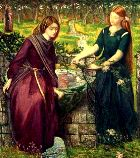 Leah and her younger sister Rachel draw water from the well, Dante Gabriel Rossetti